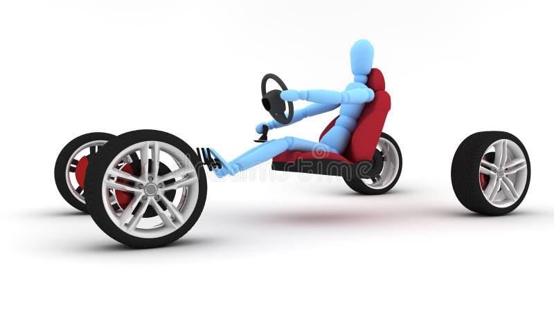 Neumáticos azules del mecanismo impulsor del hombre ilustración del vector