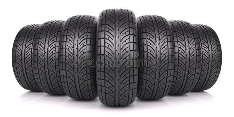 Neumáticos de coche en fila stock de ilustración