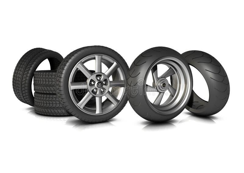 Neumáticos de la bici y del coche fotos de archivo