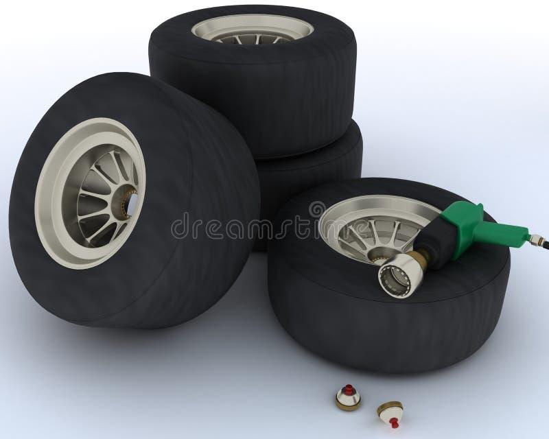 Neumáticos del coche de carreras para la parada del hueco stock de ilustración