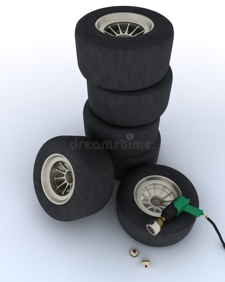Neumáticos del coche de carreras para la parada del hueco libre illustration