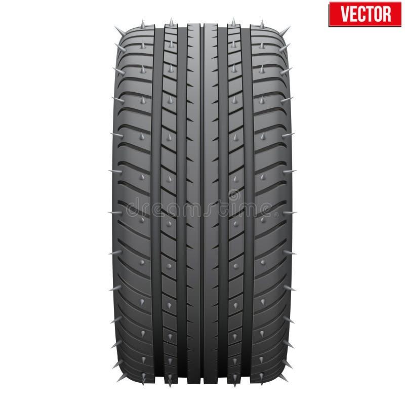 Neumáticos del invierno con los puntos del metal ilustración del vector