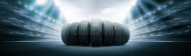 Neumáticos del vehículo en la arena de la pista ilustración del vector