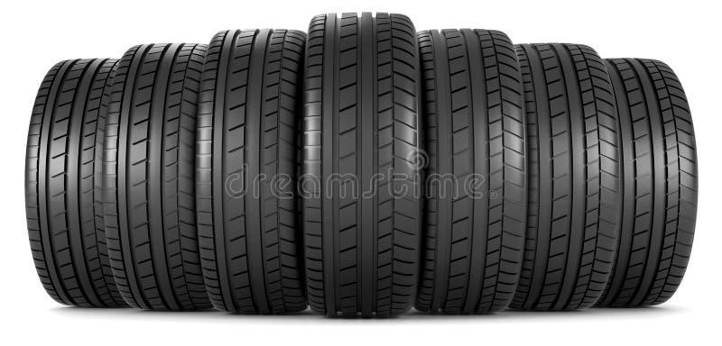Neumáticos en fila imagen de archivo