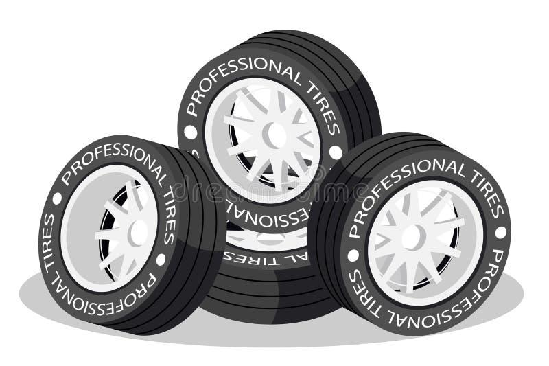 Neumáticos isométricos aislados de la rueda 3d para el coche deportivo stock de ilustración