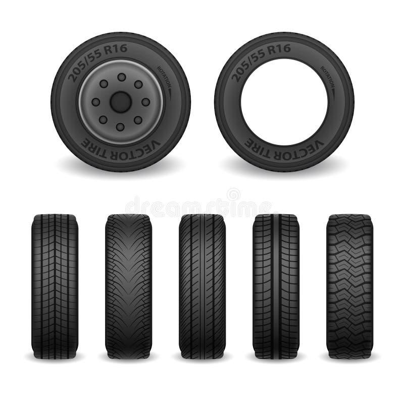 Neumáticos realistas del vector fijados Neumáticos de coche con diversas marcas de la pisada Iconos de la rueda del vector libre illustration