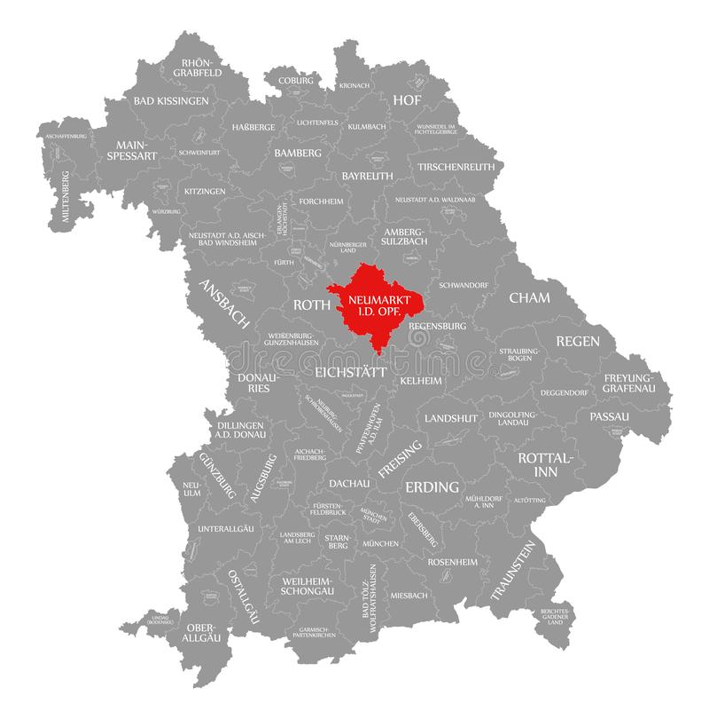 Neumarkt w dera Oberpfalz okręgu administracyjnego czerwieni podkreślającej w mapie Bavaria Niemcy ilustracji