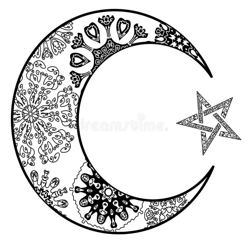 Neumond-und Stern Illustration zentangle Art stock abbildung