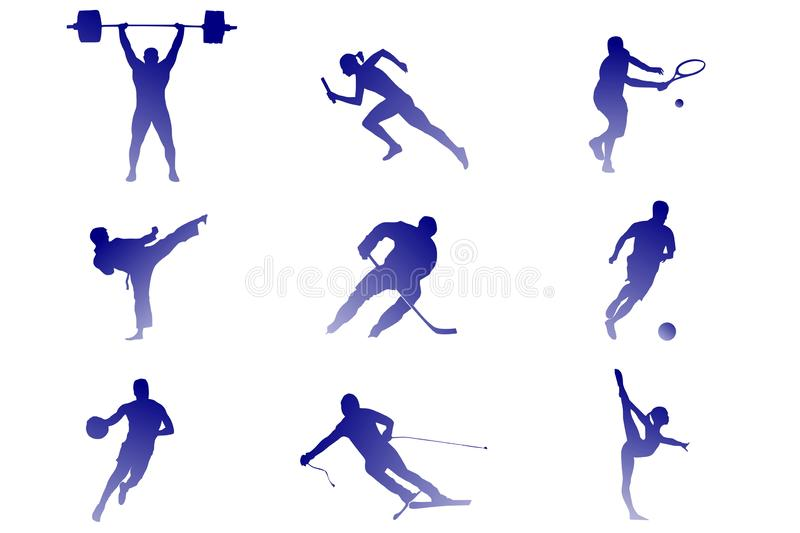 Neun Arten Sport: Tennis, Fußball, Hockey, usw. stock abbildung