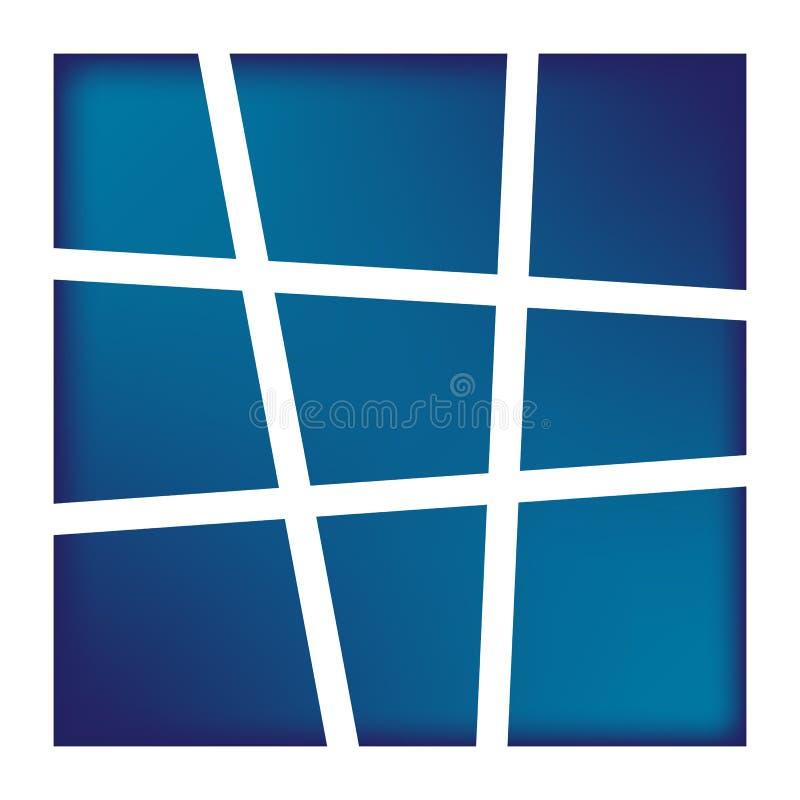 Neun blaue rechteckige Rahmen lizenzfreie abbildung