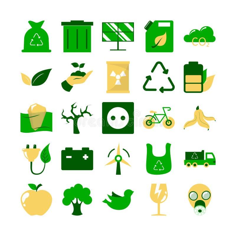 neun Elemente der reinen Natur Sammlung des Umweltpiktogramms lizenzfreie abbildung