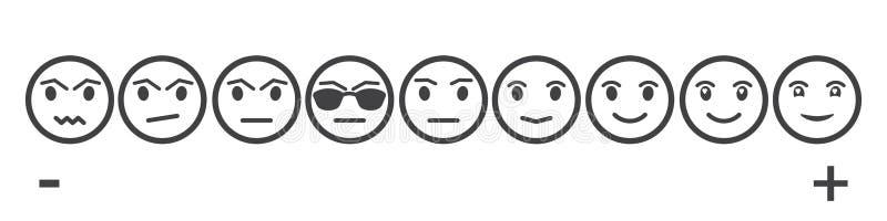 Neun Gray Faces Feedback /Mood Stellen Sie neun gegenüberstellt Skala - neutrales trauriges des Lächelns - lokalisierte Vektorill stock abbildung