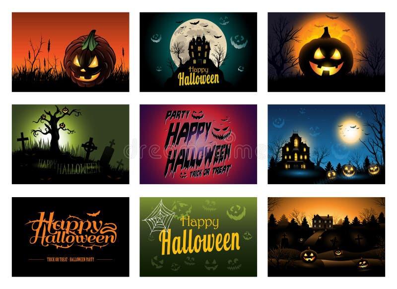 Neun gruselige Halloween Grußkarten-Parteieinladung lizenzfreie abbildung