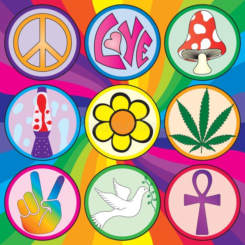 Neun Ikonen 60s auf einem Regenbogenhintergrund lizenzfreie abbildung