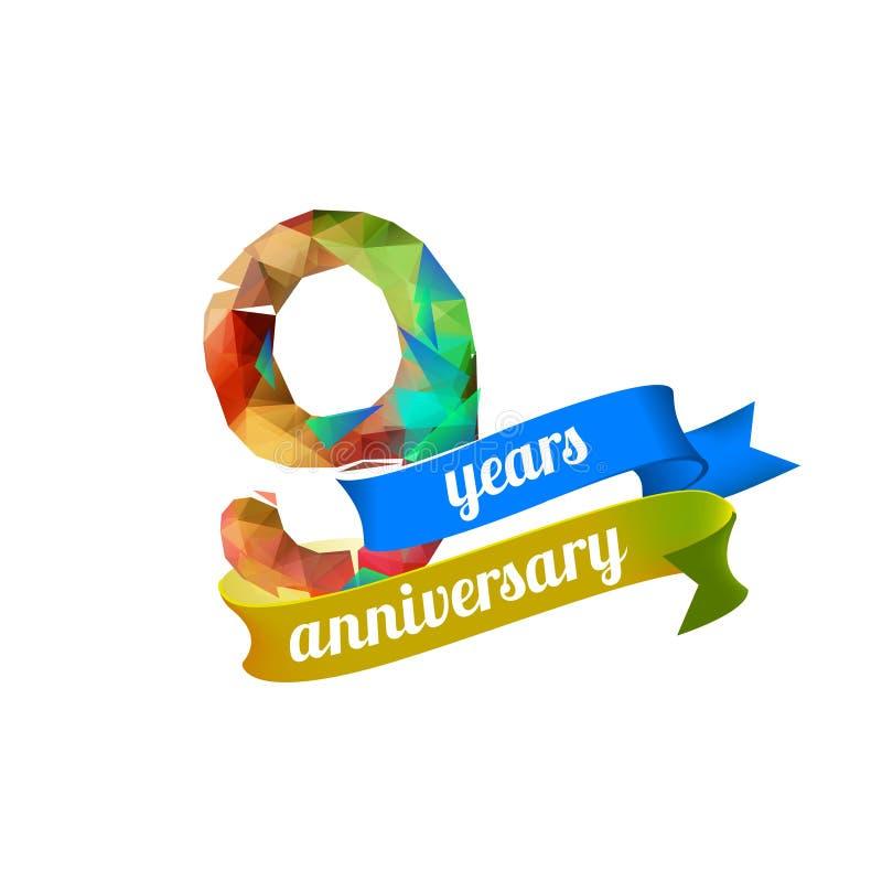 9 neun Jahre Jahrestag stock abbildung
