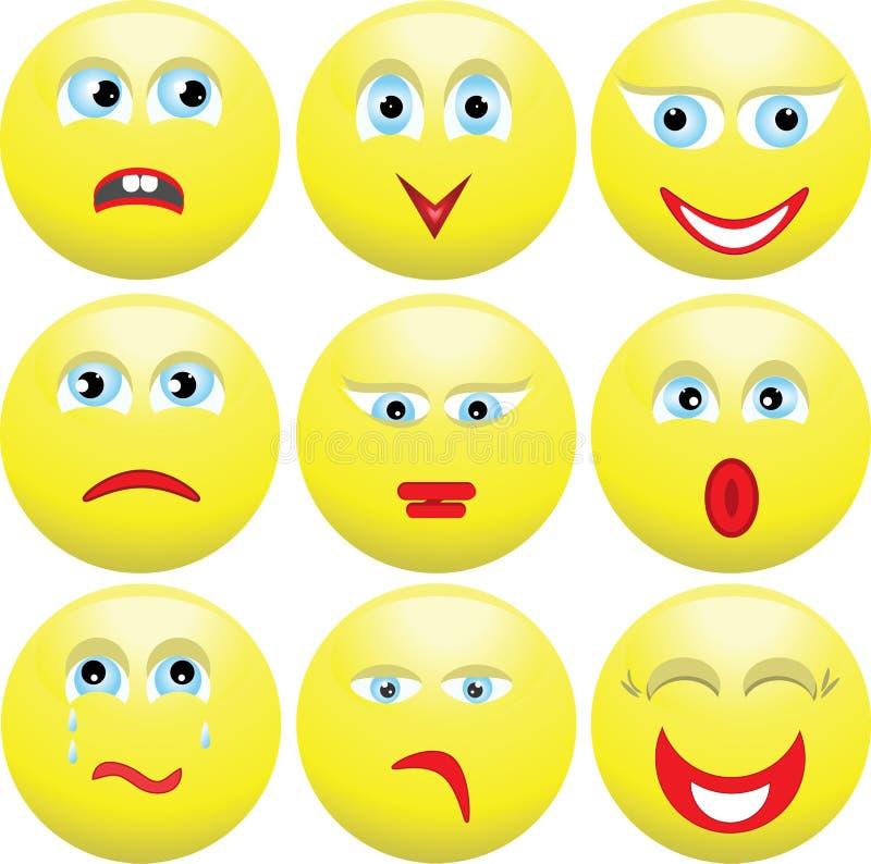 Neun mannigfaltige Ausdrücke der Personen. Smilies. lizenzfreie abbildung
