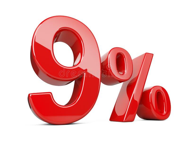 Neun-rotes Prozent-Symbol 9% Prozentsatz Sonderangebotdisco stock abbildung