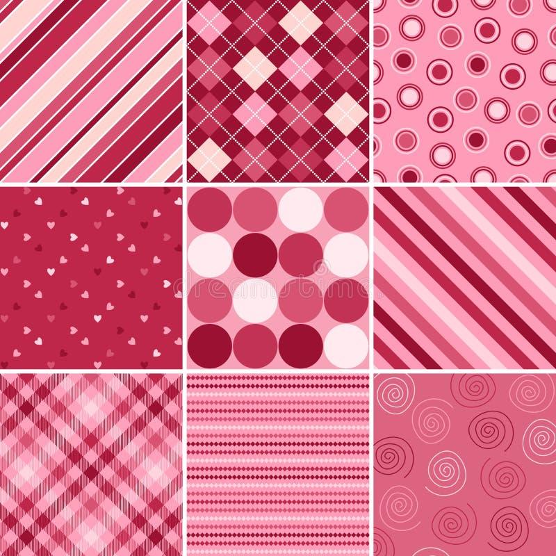 Neun Valentinsgruß-Muster vektor abbildung