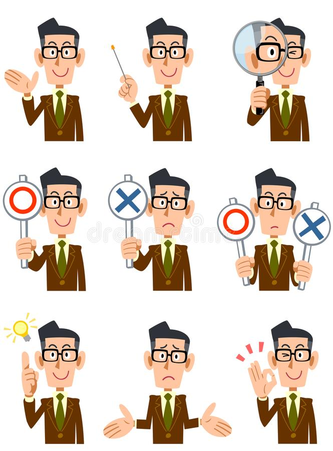 Neun verschiedene Ausdrücke und Gesten eines Mannes lizenzfreie abbildung
