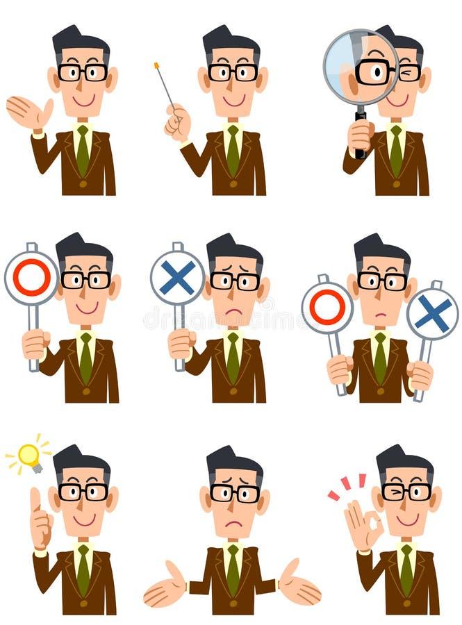 Neun verschiedene Ausdrücke und Gesten von Männern vektor abbildung