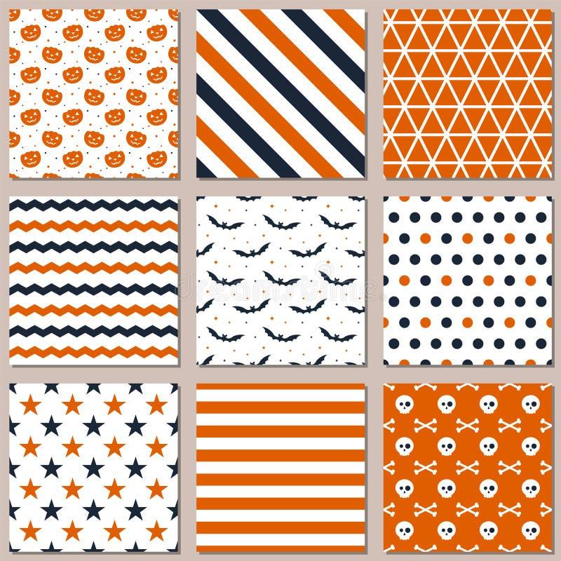 Neun verschiedene nahtlose Muster für Halloween Endlose Beschaffenheit für Tapete vektor abbildung