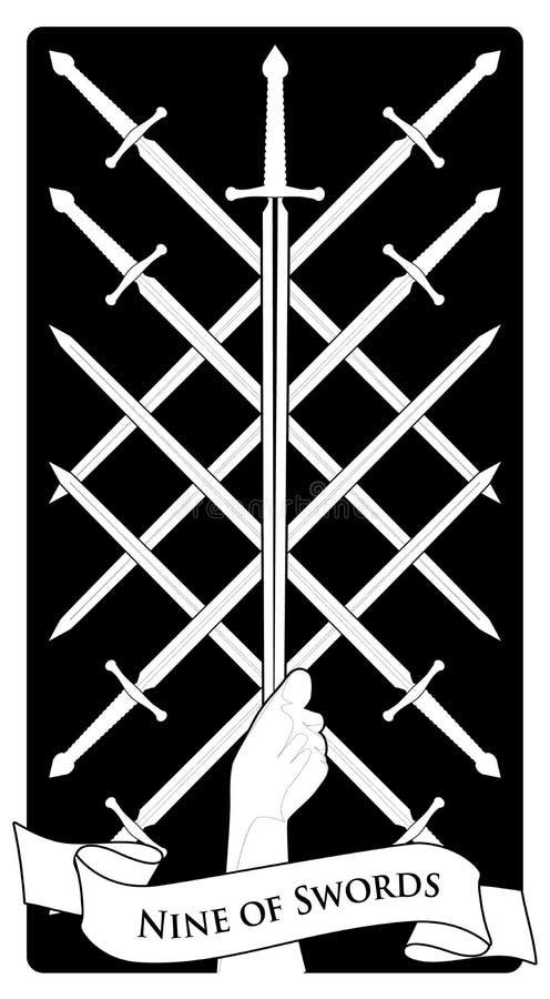 Neun von Klingen Tarot Karten Acht kreuzten Klingen und eine Hand, die eine Klingenspitze fasst stock abbildung