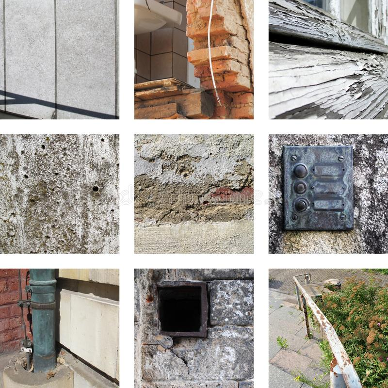 Nine pictures of weathering and old substances. And walls stock images
