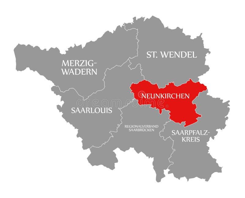 Neunkirchen czerwień podkreślająca w mapie Saarland Niemcy DE ilustracji