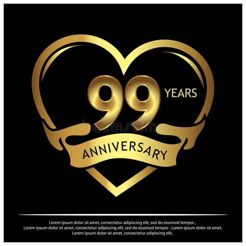 Neunundneunzig Jahre Jahrestag golden Jahrestagsschablonenentwurf für Netz, Spiel, kreatives Plakat, Broschüre, Broschüre, Fliege stock abbildung