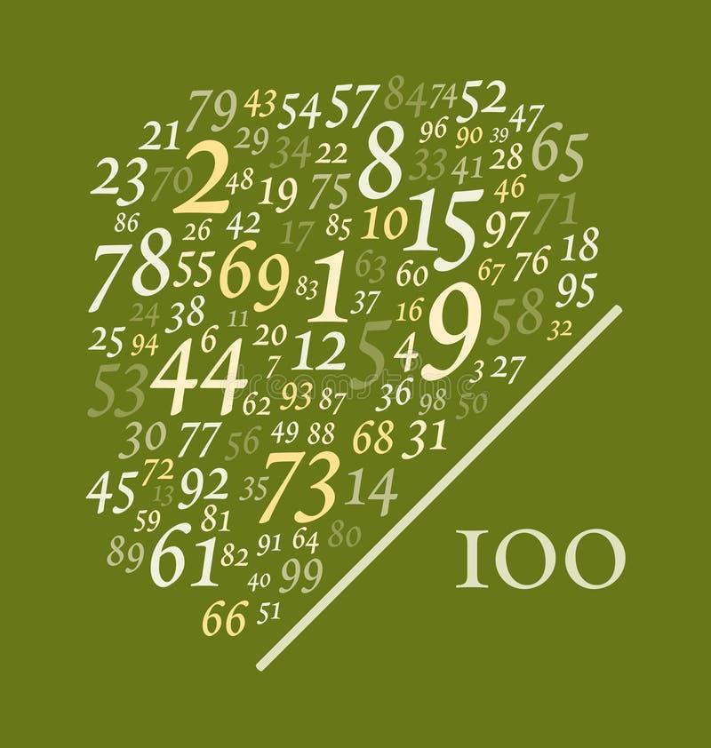 Neunundneunzig Zahlen über hundert stock abbildung