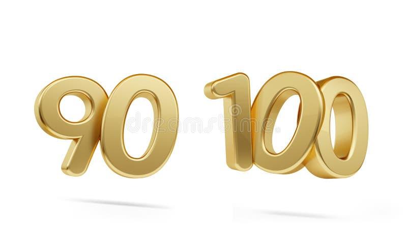 Neunzig hundert mutige goldene Zahl 3d-illustration stock abbildung