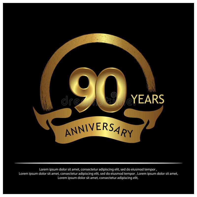 Neunzig Jahre Jahrestag golden Jahrestagsschablonenentwurf für Netz, Spiel, kreatives Plakat, Broschüre, Broschüre, Flieger, Zeit lizenzfreie abbildung