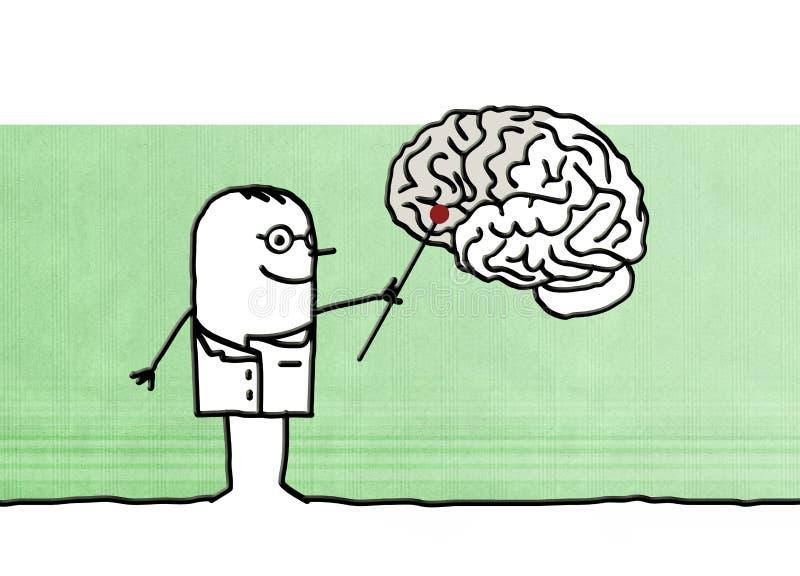 Neurólogo de la historieta con el cerebro ilustración del vector
