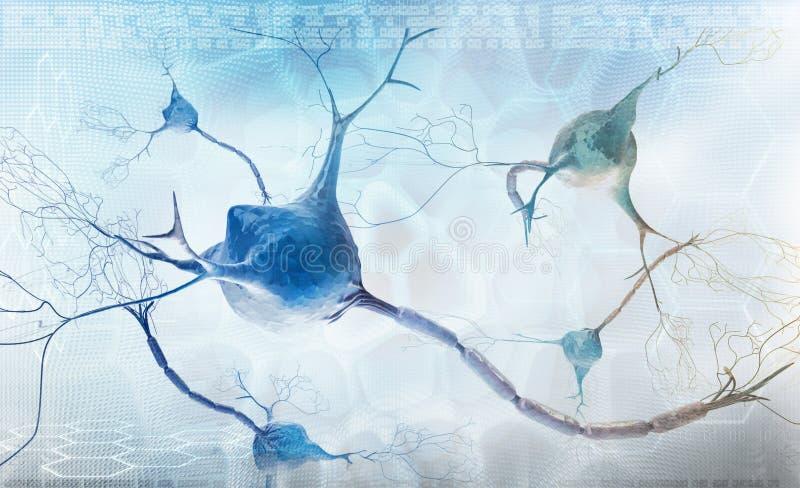 Neurônios e sistema nervoso - fundo abstrato ilustração stock