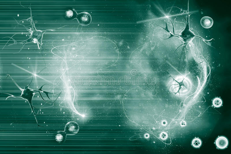 Neurônio e pilha ilustração royalty free