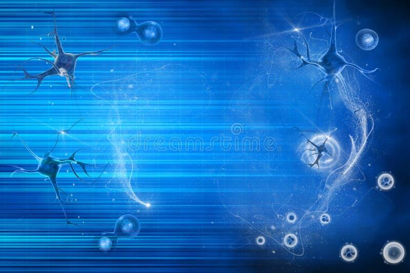 Neurônio e pilha ilustração do vetor