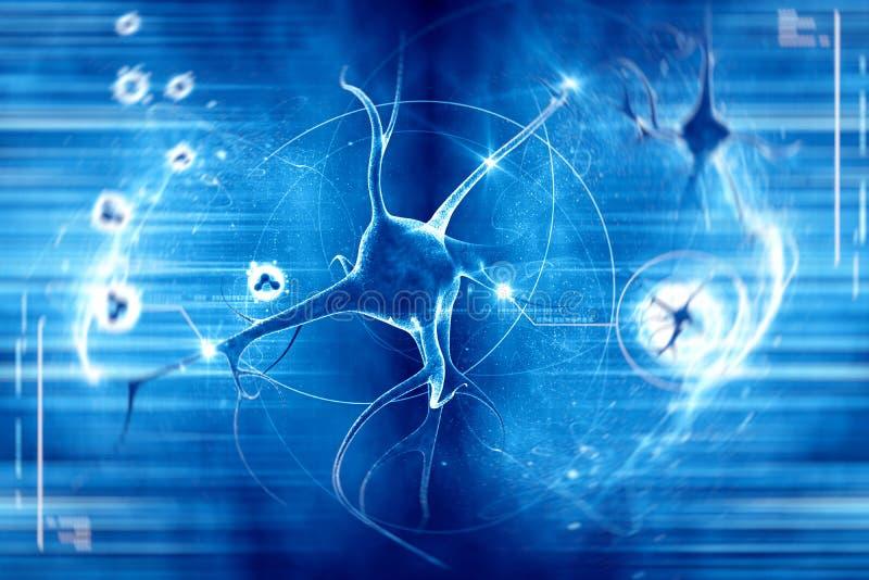 Neurônio no fundo azul ilustração stock