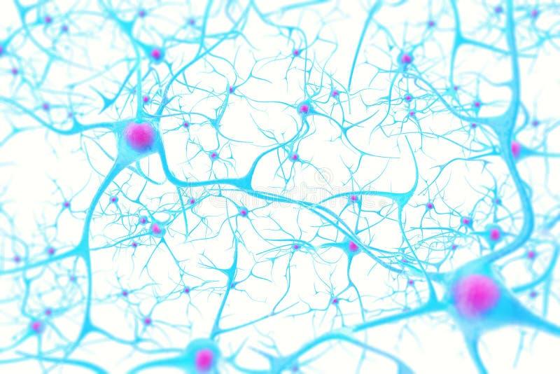 Neurônios no cérebro no fundo branco com efeito de foco ilustração 3D imagens de stock