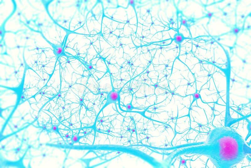 Neurônios no cérebro no fundo branco com efeito de foco ilustração 3D imagens de stock royalty free