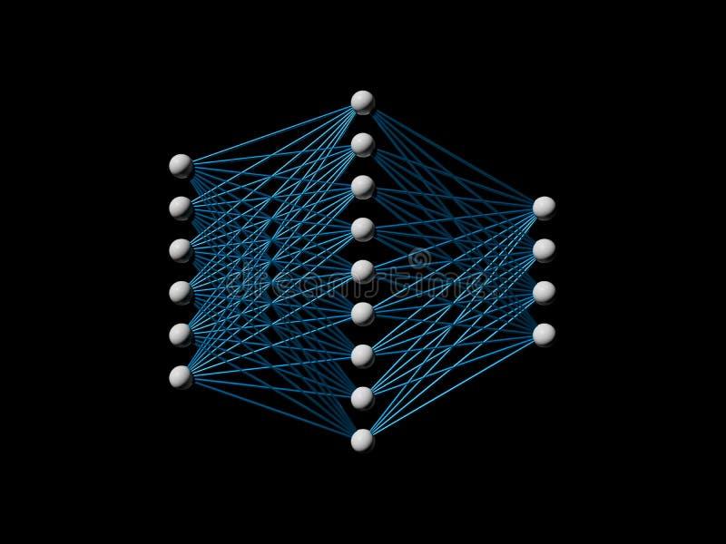 Neuraal die netwerkmodel op zwarte wordt geïsoleerd royalty-vrije illustratie