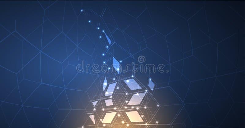 Neuraal netwerkconcept Verbonden cellen met verbindingen Hoge technol vector illustratie