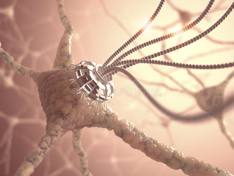 Neural nanotechnologia ilustracja wektor