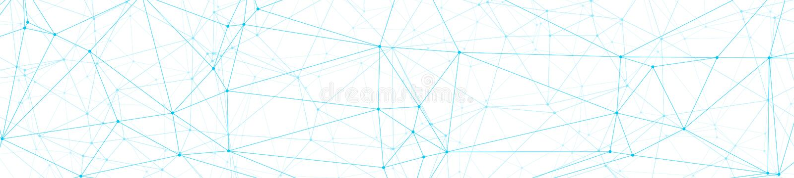 Neural network algorithm graphic concept, abstract polygonal concept, vector lines and circle dots connected, wide banner or. Technology science background stock illustration