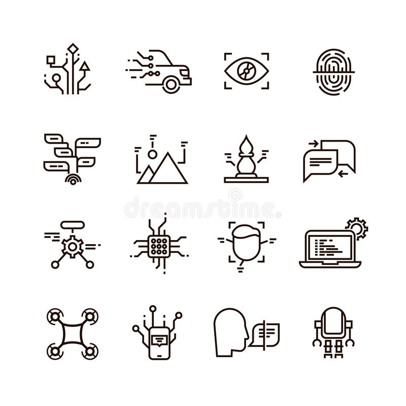 Neural network, artificial intelligence line vector icons. Face, speech and image recognition vector illustration