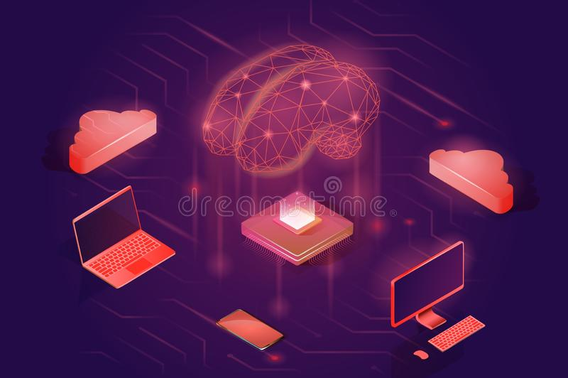 Neural network concept. Artificial intelligence isometric vector illustration. vector illustration