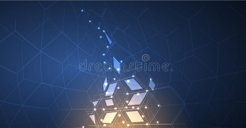 Neural network concept. Connected cells with links. High technology process. Abstract background vector illustration