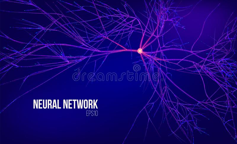 Neural network 3d abstract vector illustration. Data tree with root. Information stream. Kernel computing system. Background royalty free illustration