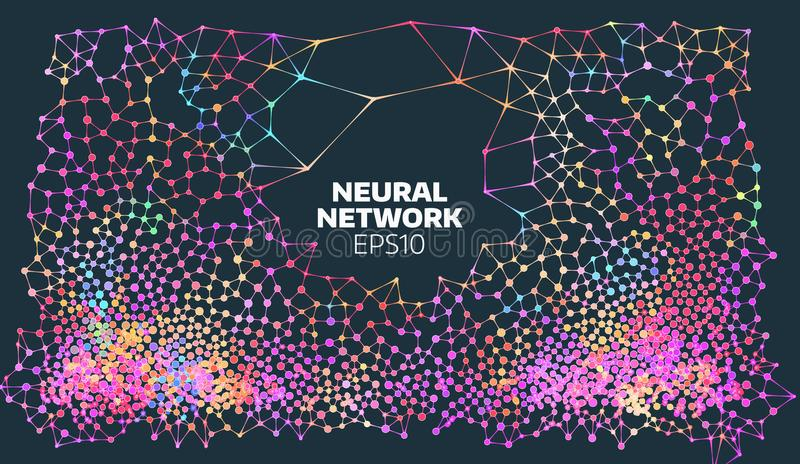 Neural network illustration. Abstract machine learning process. Geometric data cover. artificial intelligence stock illustration