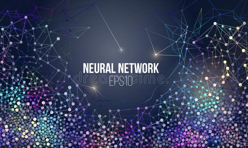 Neural network illustration. Abstract machine learning process. Geometric data cover. Background royalty free illustration