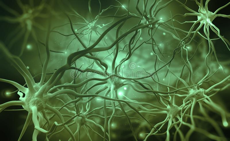 Neural networks of the human brain. 3d illustration of abstract nerve centers. Electrical impulses in brain stock illustration